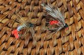 pic of trout fishing  - Macro photo of an artificial fly for fly fishing on a basketwork background - JPG