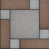 stock photo of paving  - Rectangular Paving Slabs Laid as four Gray Square Inside the Big Brown Square - JPG