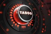 stock photo of taboo  - Taboo Controller on Black Control Console with Red Backlight - JPG