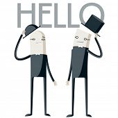 stock photo of politeness  - Vector illustration of abstract funny characters - JPG