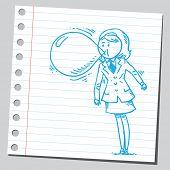 stock photo of bubble sheet  - Businesswoman blowing bubble gum - JPG