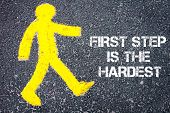 stock photo of pedestrians  - Yellow pedestrian figure on the road walking towards First Step is the Hardest - JPG
