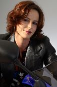 Brunette Girl On Motorcycle Leather Jacket