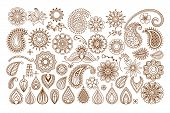picture of henna tattoo  - Henna tattoo doodle vector elements on white background - JPG