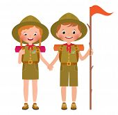 pic of boy scout  - Vector illustration of children scouts boy and girl isolated on white background - JPG