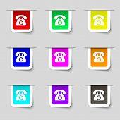 stock photo of rotary dial telephone  - Retro telephone icon sign - JPG