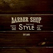 image of barbershop  - Barbershop badges logos and labels for any use on wooden background texture - JPG