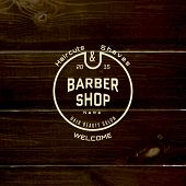 stock photo of barbershop  - Barbershop badges logos and labels for any use on wooden background texture - JPG