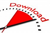 picture of upstream  - clock red area download speed illustration 3d - JPG
