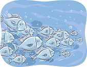 image of school fish  - Illustration of a School of Fish Swimming Together - JPG