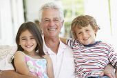 stock photo of grandfather  - Grandfather With Grandchildren At Home - JPG
