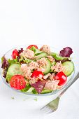 image of cucumber  - Delicious salad with tuna fish - JPG