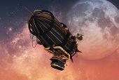 Постер, плакат: Steampunk Airship 3D Cg