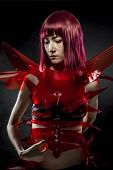 picture of woman dragon  - robot with red armor - JPG