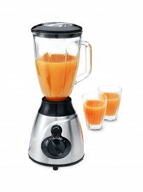 picture of blender  - blender with two glasses of juice isolated on white - JPG
