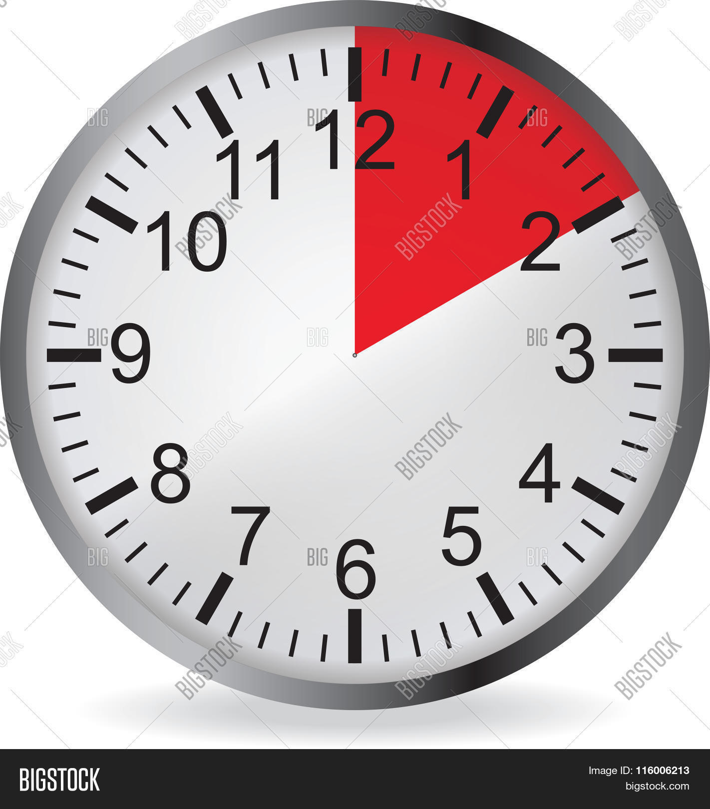 Clock With Red 10 Minute Deadline Stock Vector Stock