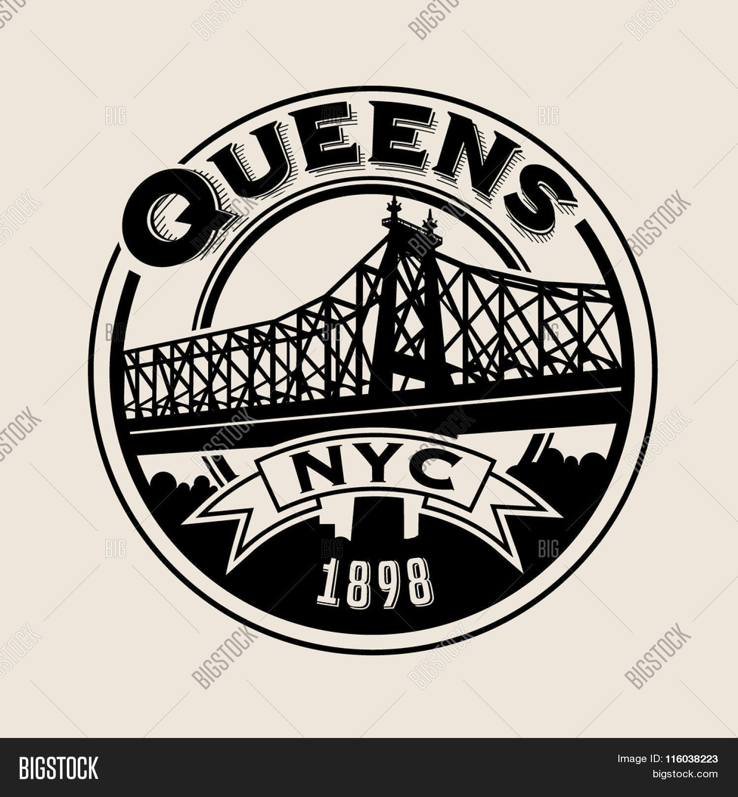 T shirt design queens ny - Vintage T Shirt Sticker Emblem Design Queens New York City And Queensboro Bridge