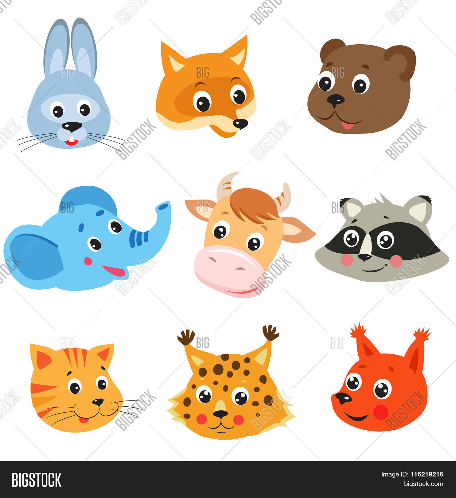 cartoon animal vector set on vector u0026 photo bigstock