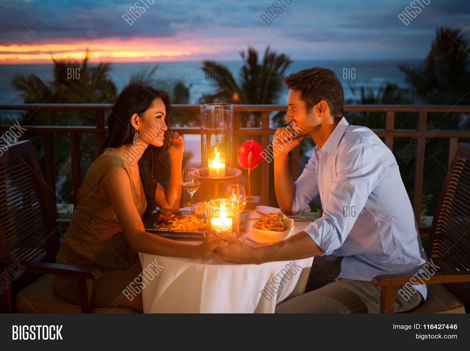 Romantic couple have dinner sunset image photo bigstock for Romantic getaway ideas for couples