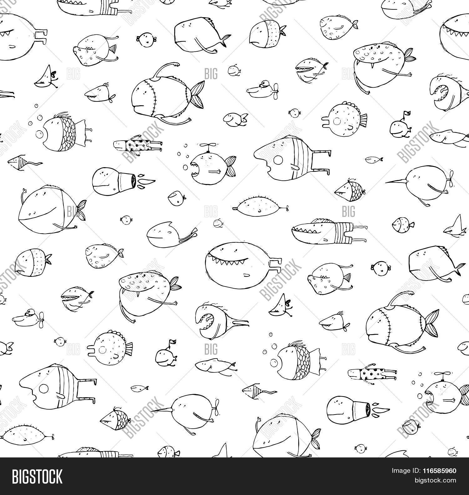 cartoon seamless pattern funny childish fish black on white line