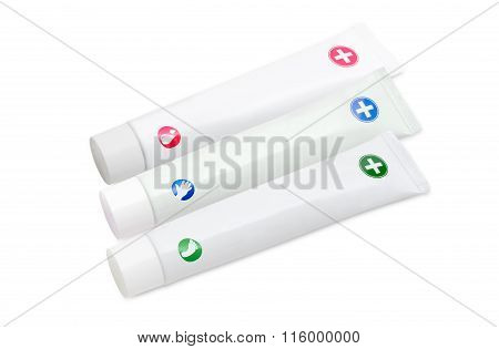 Tubes Of Creams For Body Care On A Light Background