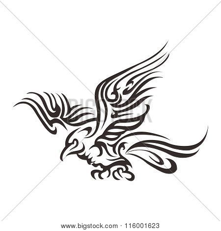 Vector Artistic Tribal Flying Phoenix Tattoo Illustration
