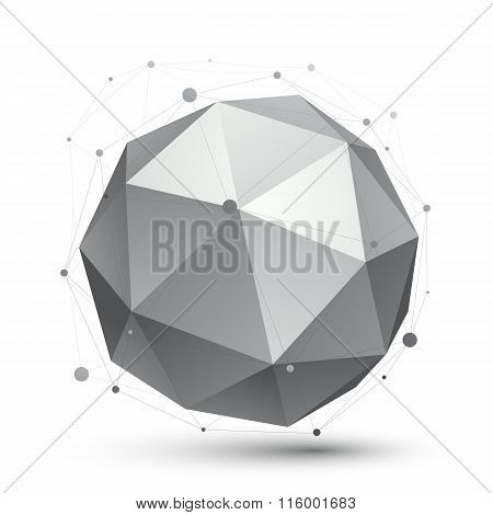 Modern Digital Technology Style, Abstract Unusual Background, Vector Tech Spherical Complicated 3D F
