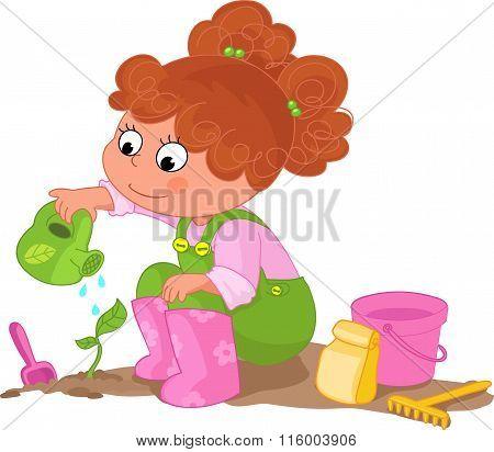 Girl doing gardening