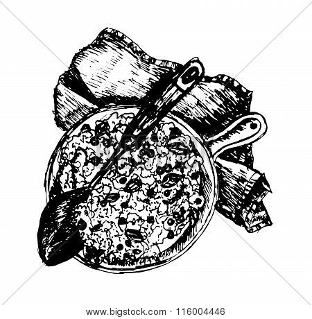 hot delicious paella with rice and meat in a frying pan on a table decorated hand drawn vector
