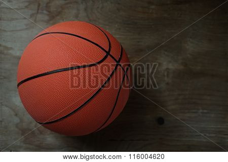 Basketball On Old Wood Table