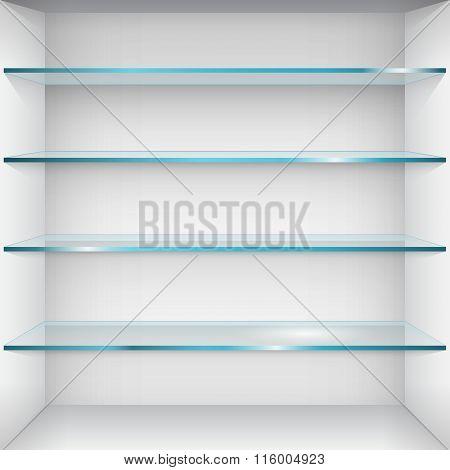 Empty Glass Shelves On Wall. Vector Illustration