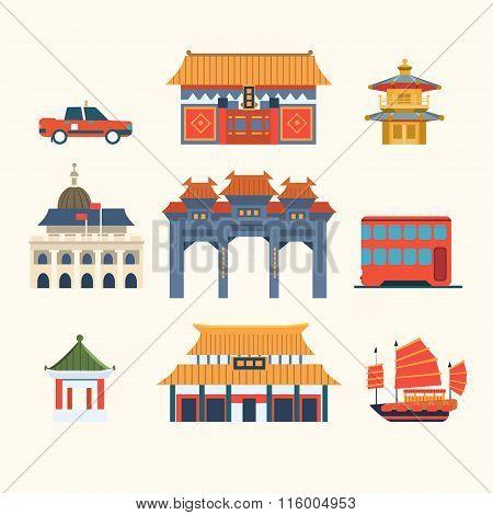 Traditional Chinese Buildings, Hong Kong travel elements. Vector Illustration Set