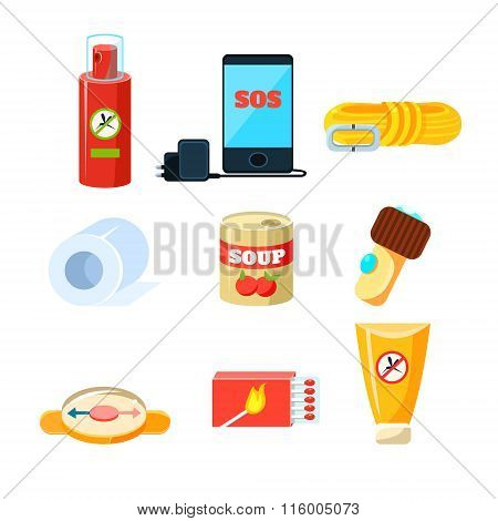 Survival emergency kit for evacuation, Items, Active Rest. Vector Illustration Set