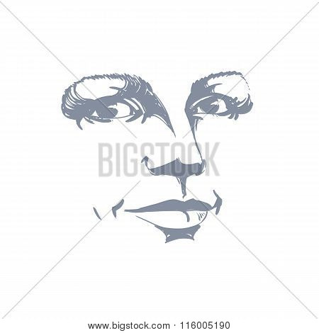 Monochrome Silhouette Of Romantic Attractive Lady, Face Features. Hand-drawn Vector Illustration Of