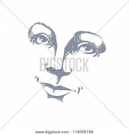 Hand-drawn Illustration Of Woman Face, Black And White Mask With Emotions. Features Of Beautiful Rom