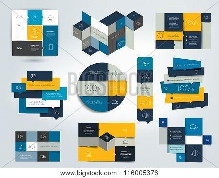 Set Of Blue Infographics Elements.