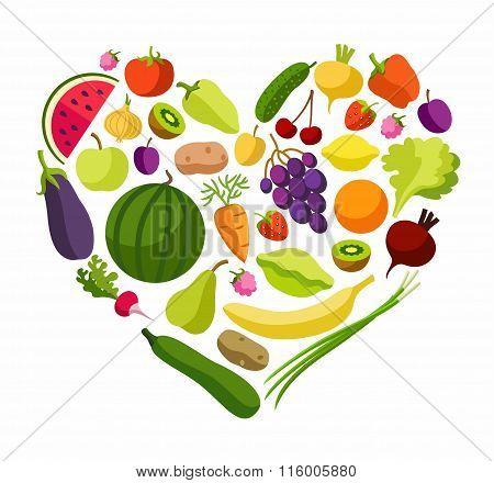 Fruits, Vegetables, Heart, Co...