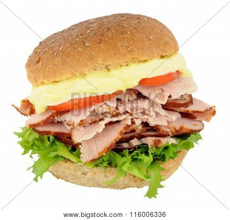 Smoked Ham And Salad Sandwich
