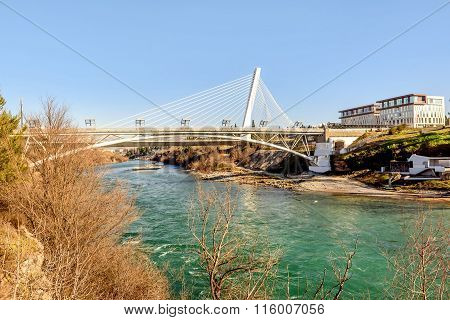 Millenium Bridge Over The River Moraca In Podgorica, Montenegro