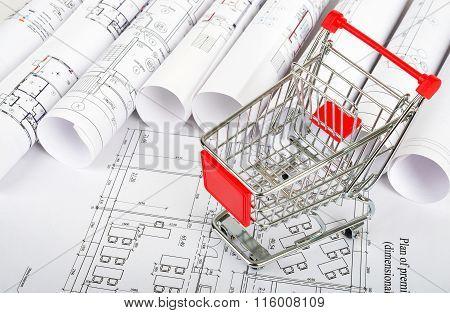 Shopping cart on blueprint