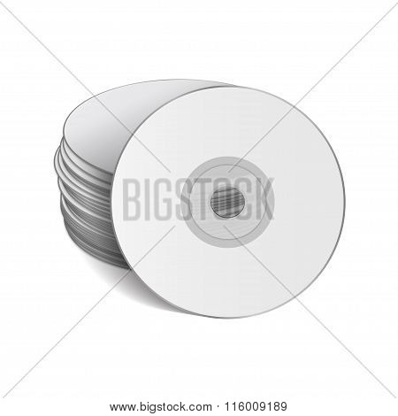 Stack Of Cds On A White Background.  Vector Illustration