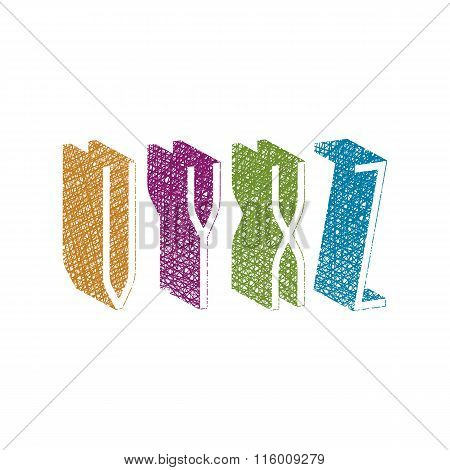 Retro Style 3D Thin Tall Condensed Font With Hand Drawn Lines Texture, Letters V Y X Z.