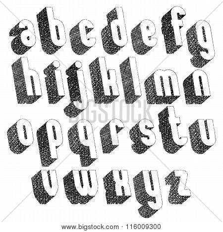 Retro Style 3D Font With Hand Drawn Lines Texture, Lowercase Set.