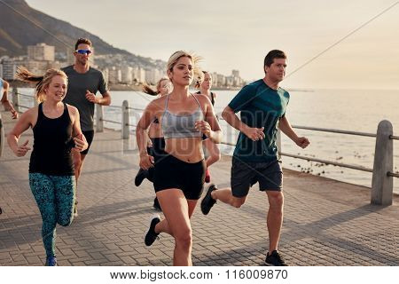 Group Of Young People Doing Running Workout
