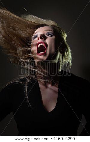woman screaming