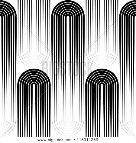 Seamless Vertical Stripe and Ellipse Pattern. Vector Disco Background