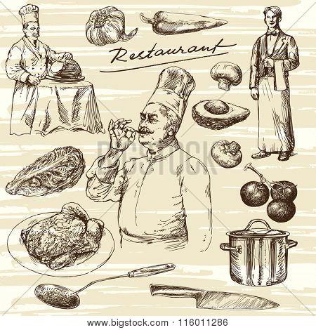 Hand drawn illustration.Food preparation. Chef portrait.