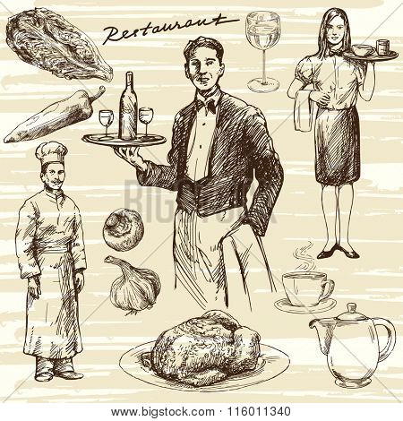 Hand drawn illustration. Waiter serving wine on a tray.