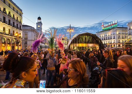 People on Puerta del Sol square, Madrid, Spain.