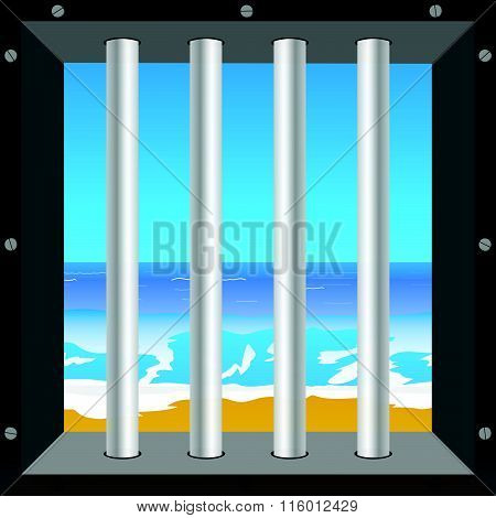 Beach In Cell Illustration